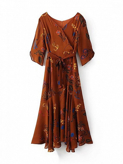 Brown Wrap V-neck Floral Tie Waist Asymmetric Hem Maxi Dress