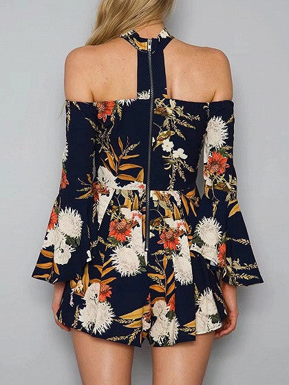 Navy Choker Neck Polychrome Off Shoulder Flared Sleeve Romper Playsuit