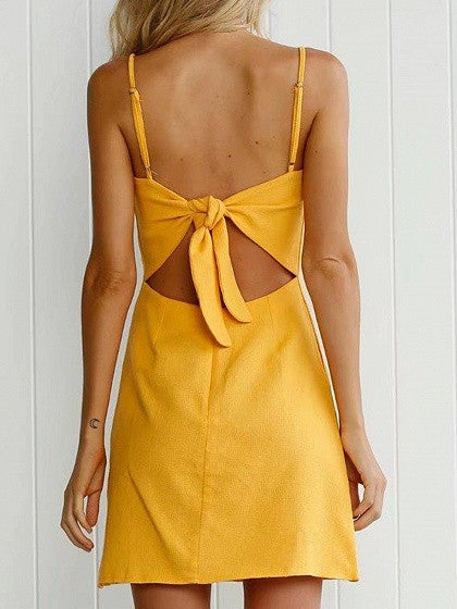 Yellow Bow Tie Back Cami A-Line Mini Dress