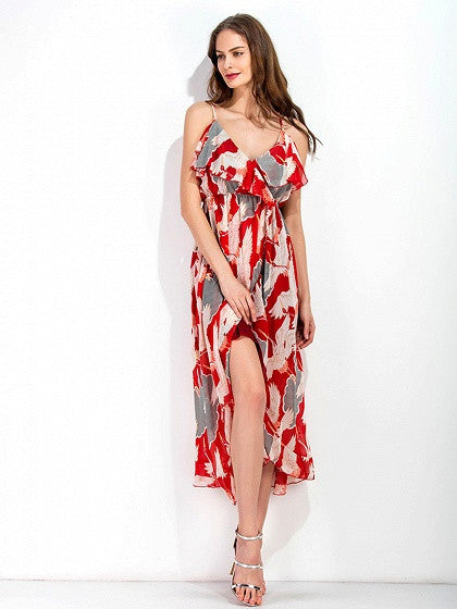 Polychrome Crane Print Ruffle Wrap Cami Midi Dress