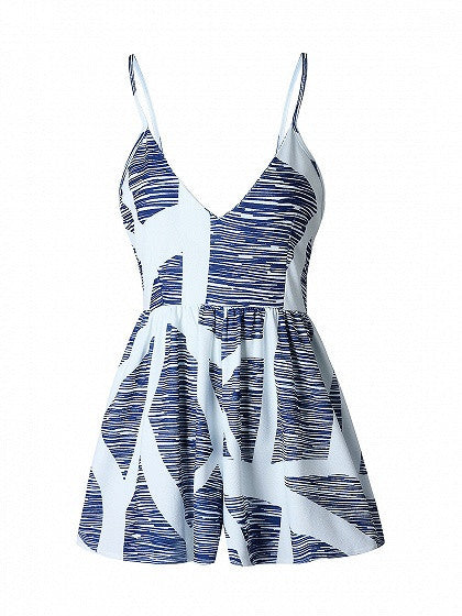 Blue V-neck Geo Pattern Spaghetti Strap Romper Playsuit