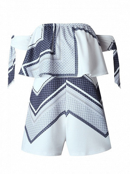 White Off Shoulder Geo Pattern Layered Bow Sleeve Romper Playsuit