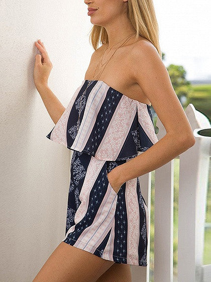 Blue Off Shoulder Contrast Stripe Layered Romper Playsuit