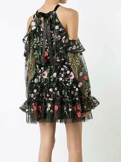 Black Embroidery Floral Cold Shoulder Ruffle Sheer Mesh Dress