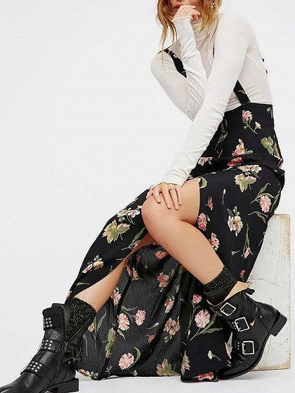 Black Floral Button Up Front Overall Dress