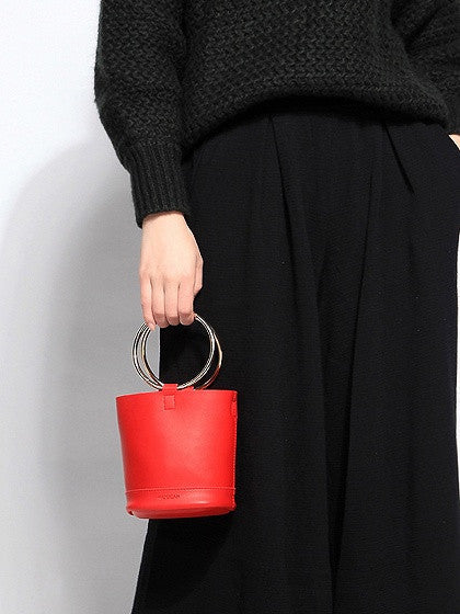Red Metal Handle Cross Body Bucket Bag