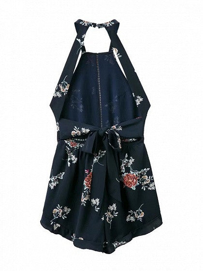 Navy Halter Floral Backless Cut Out Detail Spaghetti Strap Romper Playsuit