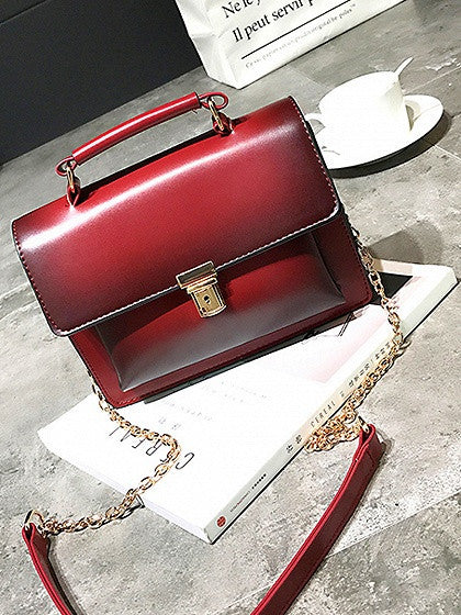 Red Top Handle Chain Cross Body Bag