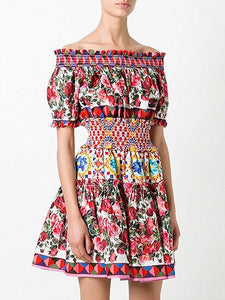 Polychrome Off Shoulder Floral Print Skater Dress