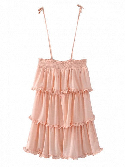 Pink Layered Ruffle Tie Shoulder Spaghetti Strap Dress