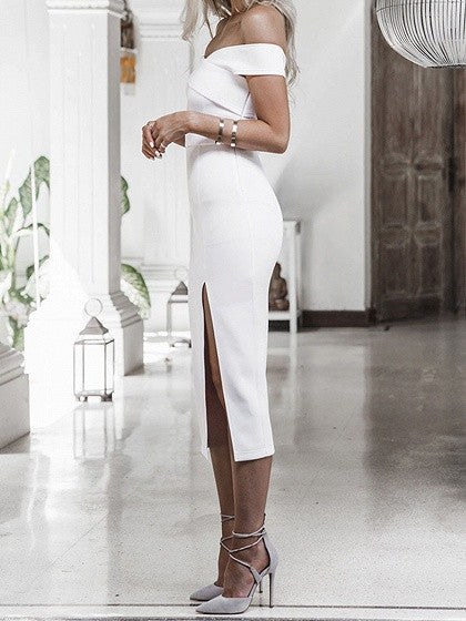 White Off Shoulder Fold Split Midi Bodycon Dress