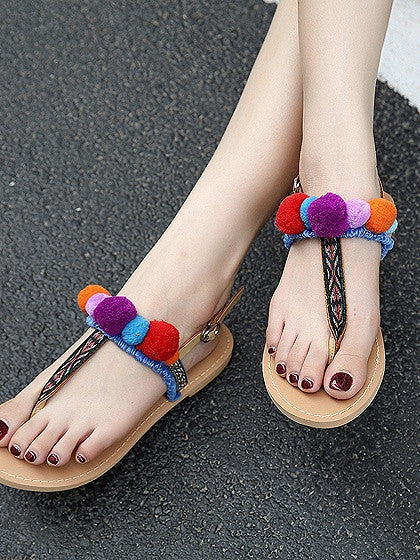 Polychrome Pom Poms Detail Flat Sandals