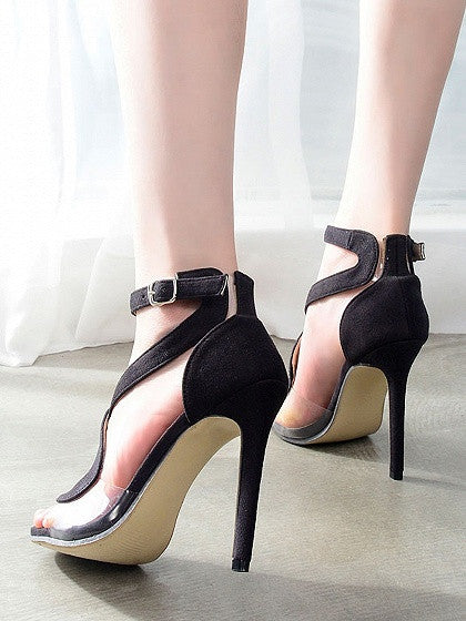 Black Faux Suede Ankle-strap Heeled Sandals