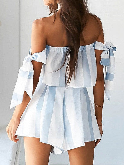 Blue Tie Sleeve Bardot Crop Top and Pleated Culotte Shorts