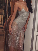 Silver Sheer Sparkle Sequinned Body Lined Cami Party Dress