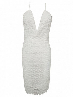 White Plunge Cutwork Lace Spaghetti Strap Bodycon Dress