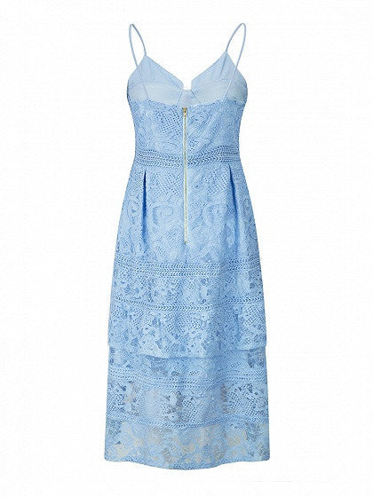 Blue Cupped Paisley Lace Cami Midi Skater Dress