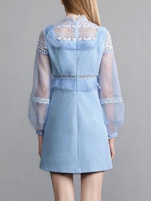 Blue High Neck Lace Panel Ruffle Detail Mesh Sleeve Mini Dress