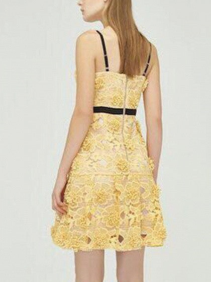 Yellow V-neck Lace Spaghetti Strap Dress