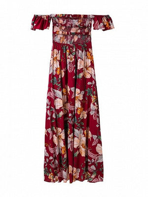 Red Off Shoulder Floral Print Strappy Back Wrap Maxi Dress