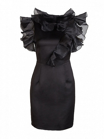 Black Organza Ruffle Silky Mini Pencil Dress
