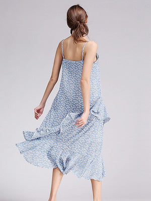 Blue Floral Print Asymmetric Ruffle Cami Midi Dress