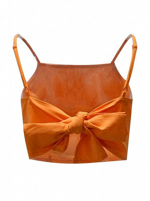 Orange Bow Tie Back Spaghetti Strap Crop Top