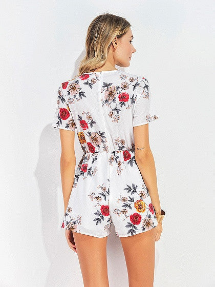 White Floral Print Lace Up Front Romper Playsuit