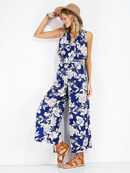 Dark Blue Floral Print Multi Strap Wide Leg Sleeveless Jumpsuit