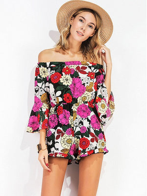 Polychrome Floral Print Off Shoulder Bell sleeve Romper Playsuit
