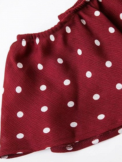Red Polka Dot Ruffle Crop Top and Split Maxi Skirt
