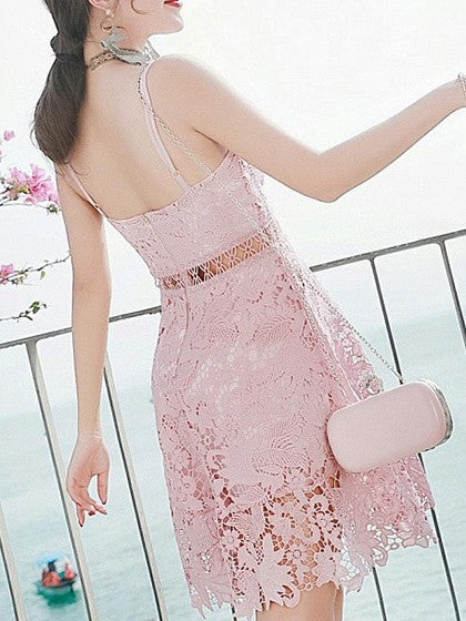Pink Lace V Neck Ladder Spaghetti Strap Skater Dress