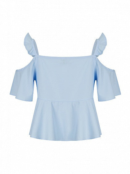 Blue Cold Shoulder Ruffle Detail Blouse