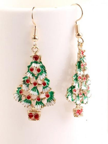 Polychrome Christmas Tree Crystal Pendant Earrings