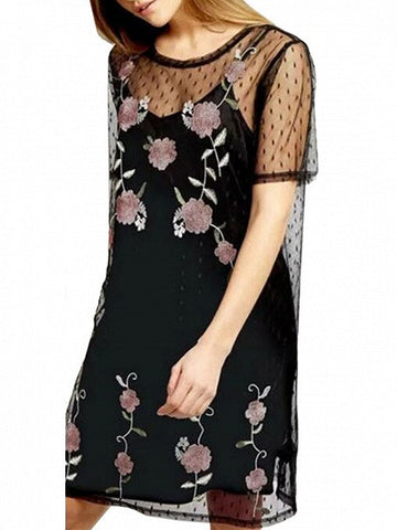 Black Dotted Sheer Mesh Embroidery Floral Dress with Lining