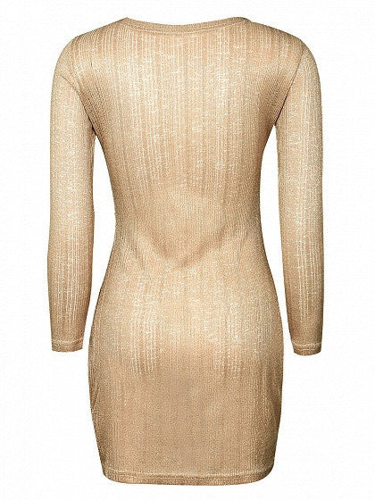 Gold Metallic Lace-up Front Long Sleeve Bodycon Dress