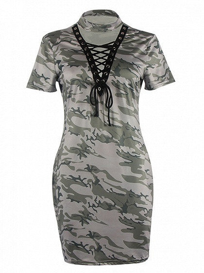 Grayish Green Camo Choker Lace-up Front Bodycon Dress