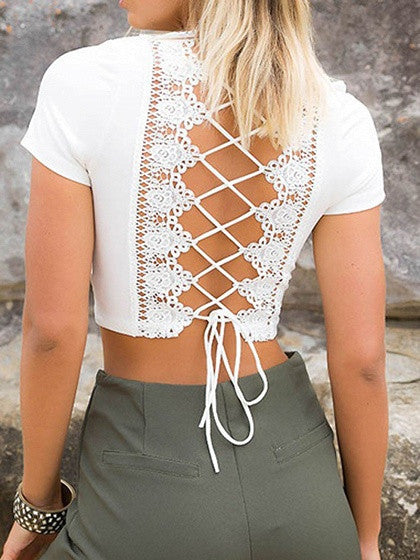 ba2d8595ac3 White Plunge Lace Panel Lace-up Back Crop Top