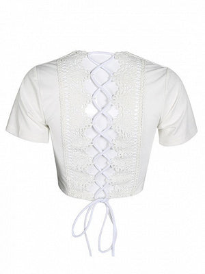 White Plunge Lace Panel Lace-up Back Crop Top