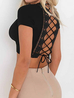 Black Plunge Lace Panel Lace-up Back Crop Top