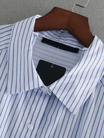 Blue Stripe Two-way Long Sleeve Shirt with Shoulder Straps