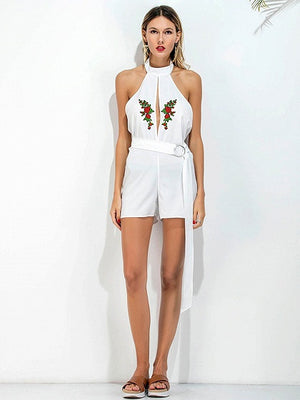 White Choker Embroidery Slit Front Belt Waist Romper Playsuit