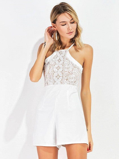 White Halter Cutwork Lace Panel Romper Playsuit