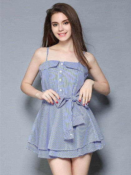 Blue Striped Folded Bow Front Spaghetti Strap Skater Dress