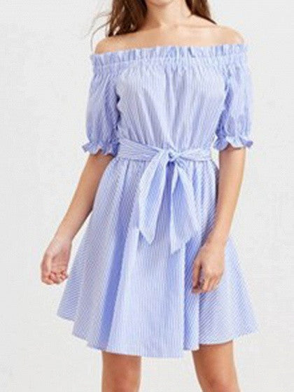 Blue Striped Off Shoulder Tie Waist Skater Dress
