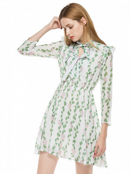 Green Leaves Print Bow Neck Long Sleeve Skater Dress
