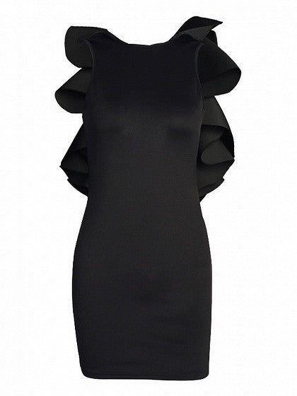Black Structured Ruffle Open Back Sleeveless Bodycon Dress
