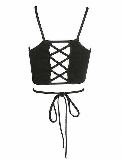 Black Cross Strap Lace Up Back Cami Crop Top