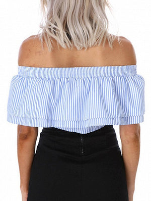 Blue Stripe Off Shoulder Double Layer Tie Front Crop Top