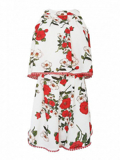 Polychrome Floral Layered Top Tie Back Romper Playsuit